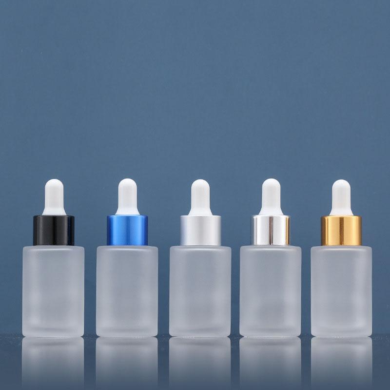 Esansiyel Yağı için 30ml / 1oz Doldurulabilir Temizle Buzlu Cam Bırak Damlalık Şişe Kozmetik Ambalaj Şişeleri Makyaj Seyahat Depolama Konteynerleri