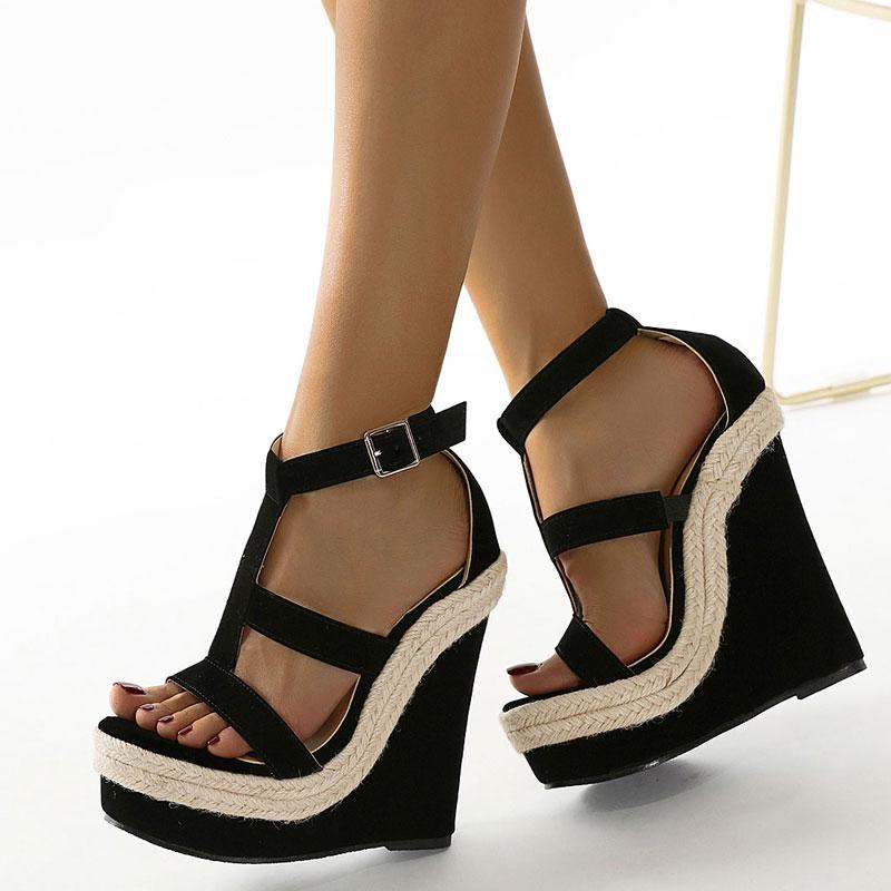 Women Wedge Sandals Plus Size Female Platform Bohemia High Heel Sandals Fashion Ankle Strap Open Toe Ladies Shoes Zapatos Mujer