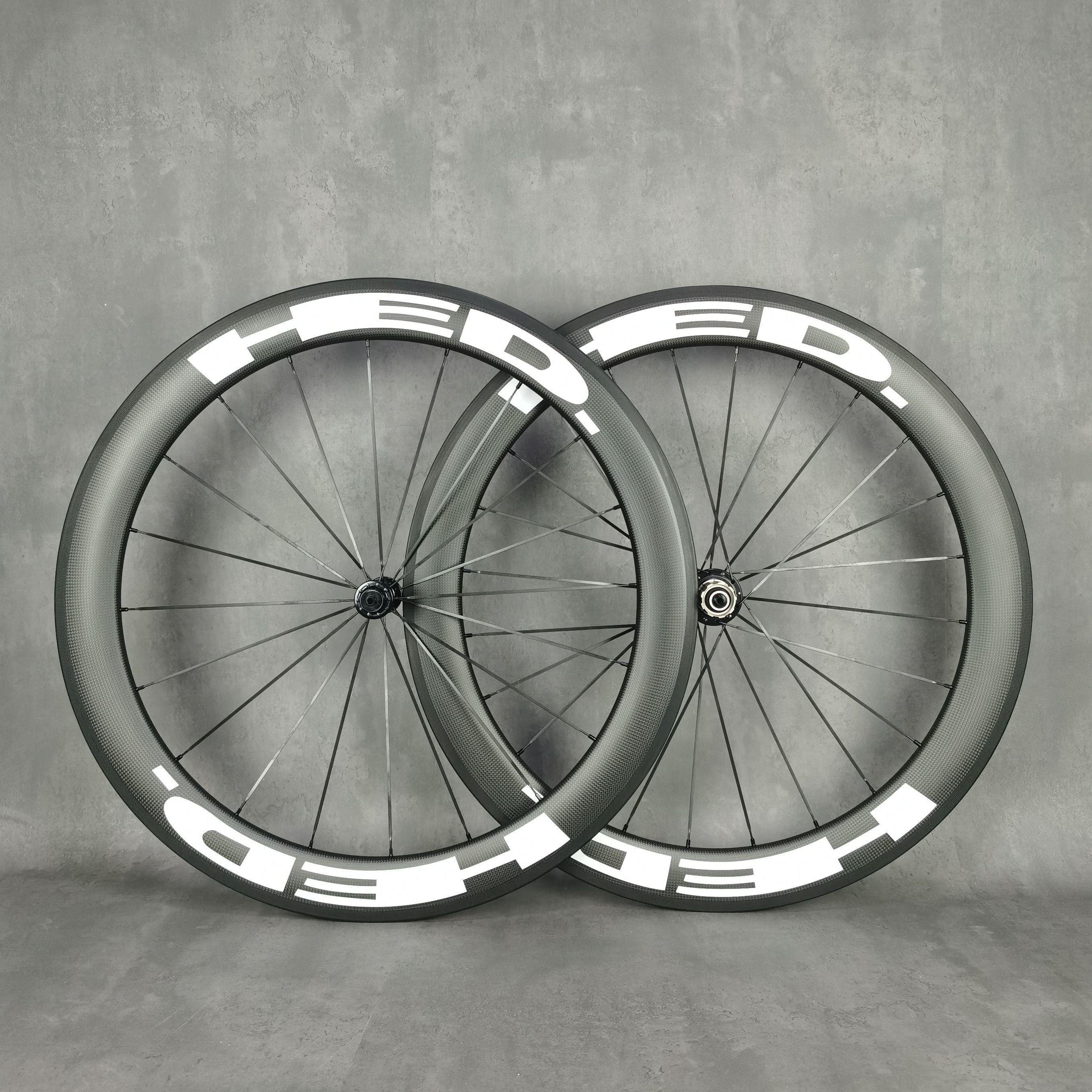 HED 700C الطريق دراجة ضوء عجلات الكربون 60MM عمق 25MM عرض الفاصلة / لايحتاج / أنبوبي دراجة الكربون العجلات مع 3K ماتي النهاية