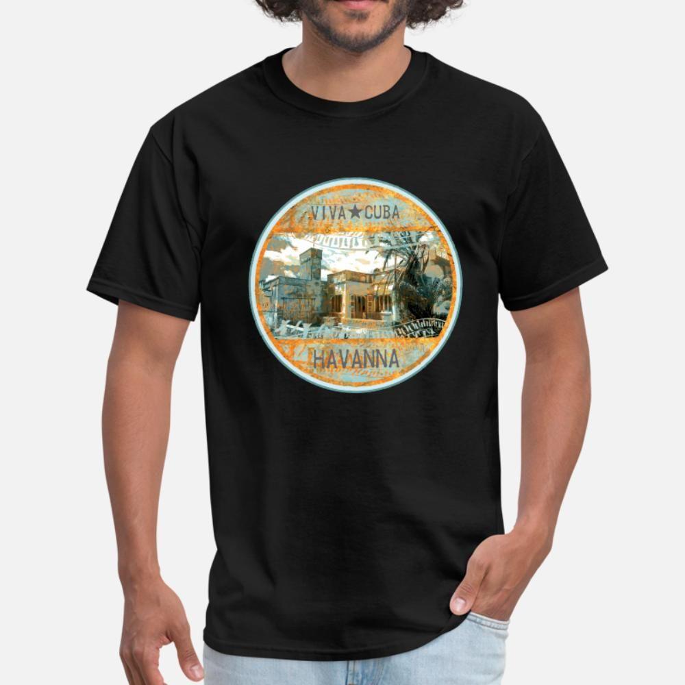 Küba t gömlek erkekler Karakter pamuk O-Boyun Biçimsel Sevimli Rahat yaz Aile gömlek