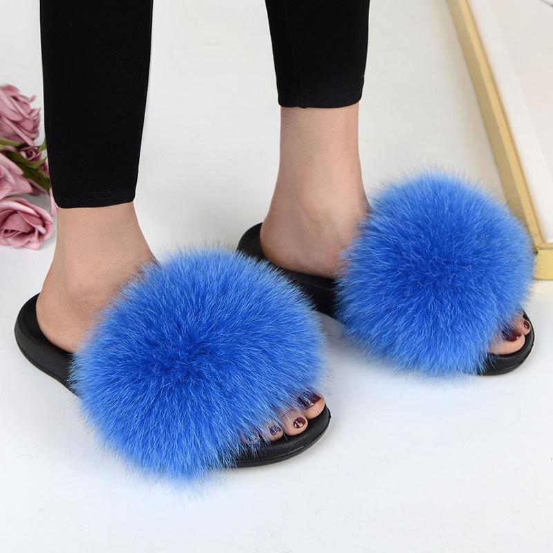 2020 Novas Mulheres Reais Slides Anti-Slip Sliders Interior EVA Chinelos Genuíno Natural Fur Moda Estilo