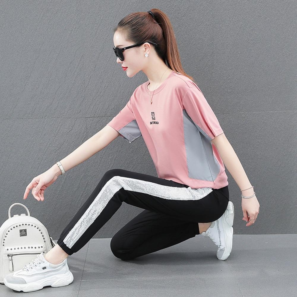 Mr0JP O0KUusummer costume été 2020 nouveau style coréen costume en vrac court des femmes de loisirs de sport sportswear manches de la mode en cours d'exécution en deux parties f