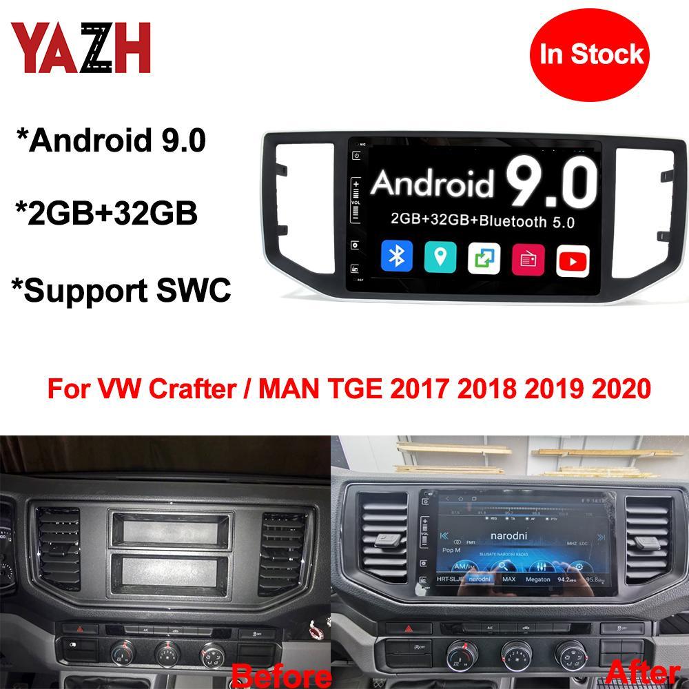 YAZH Android 9.0 Radio Auto player para VW Crafter / MAN TGE 2017 2018 2019 2020 Car DVD Chefe Unidade Com o Bluetooth 5.0 GPS Navigation