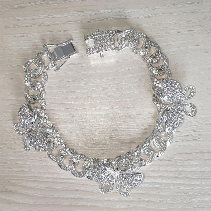 Tornozeleiras corrente de strass Borboleta Ankle Bracelet cubana Fazer a ligação para as Mulheres Largo Pé Pulseiras Beach jóias hh88