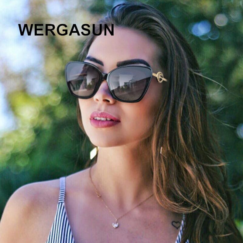 Sun New Cat Sonnenbrille Luxus Sonnenbrille Wergasun Mode Designer Oculos Gläser Frauen Weibliche Farbverlauf Marke Übergroße Eye Ejteb