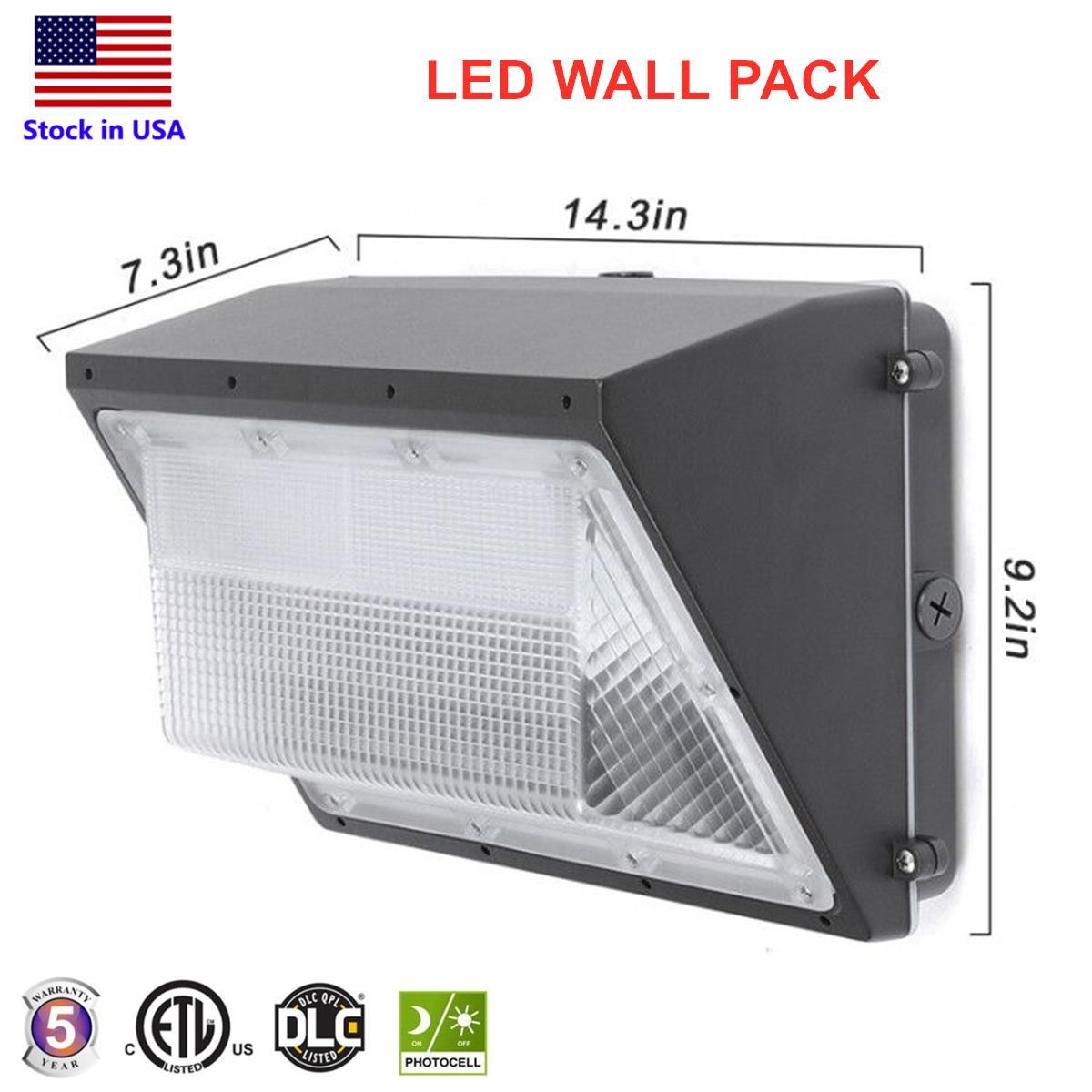 DLC ETL المدرج LED في الهواء الطلق حزمة الجدار الخفيفة 80W 120W الصناعية حزمة الحائط تركيبات ضوء وضح النهار 5000K AC90-277V CRI75 IP65