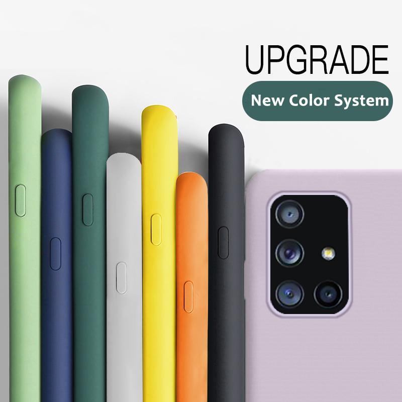 Líquido suave de silicona para Samsung Galaxy A71 A51 A41 A31 A50 A70 A30 A21S S20 Ultra Plus S10E S9 S8 Nota 10 Lite Llanura cubierta