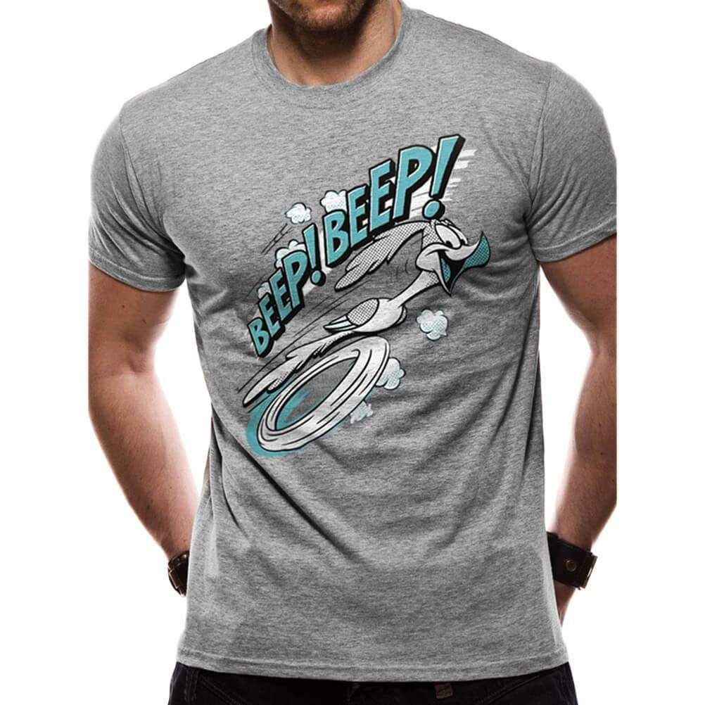 Licenza ufficiale Looney Tunes Beep Beep t-shirt grigia del fumetto uomini della maglietta unisex nuovo modo retrò da uomo maglietta allentato Size