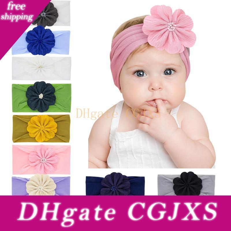Kız bebekler Çiçek Bantlar Çocuk Elastik Şapkalar Headdress Headwrap Turban Knot Çocuk Saç Aksesuarları 12styles