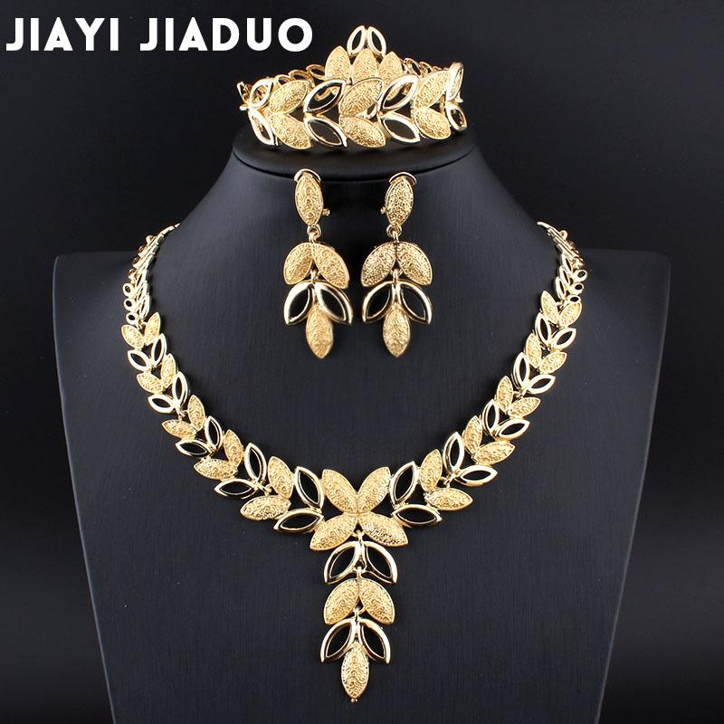 jiayijiaduo комплектов ювелирных изделий венчания кристалл сердца Мода невеста африканского золотого цвет серьги ожерелье браслет женщины партия устанавливает 17
