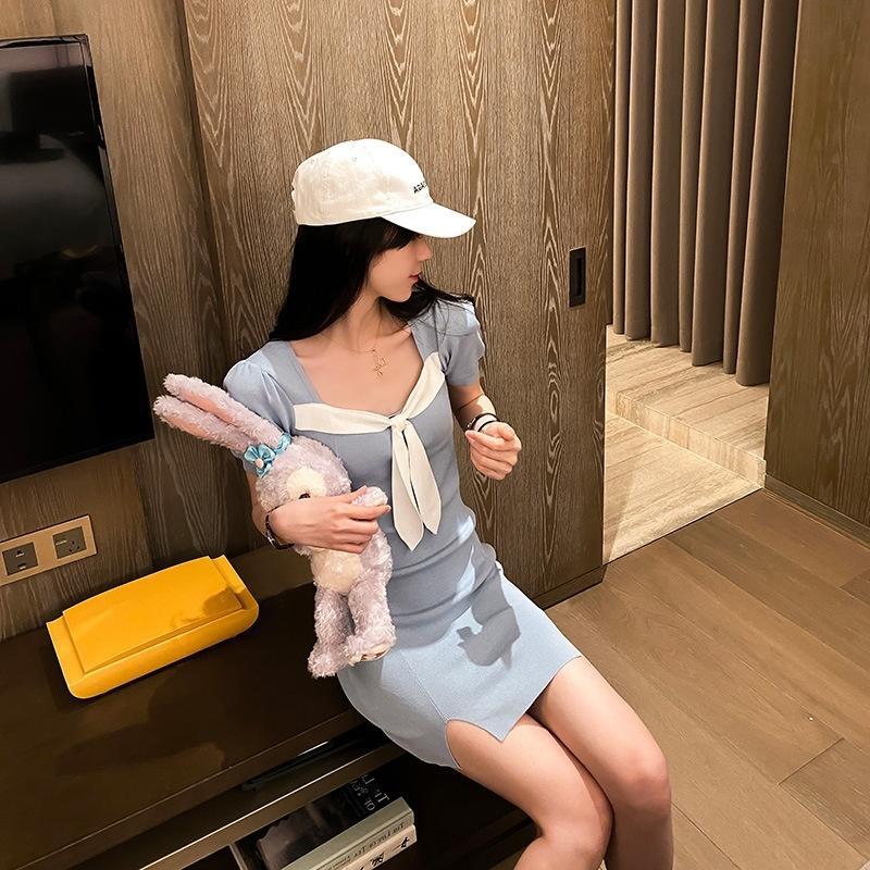 cuello cuadrado OzUqH dulce de punto para las mujeres 2020 de mariposa A-línea de vestidos de adelgazamiento de mariposa nueva cintura del arco del verano vestido de la línea A-