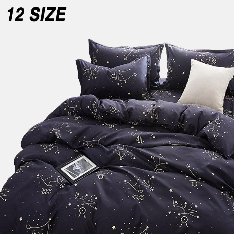 Custom Soft Sistemas del lecho EE.UU. Rusia Europa Rey Queen Size cubierta del Duvet suave sistema de la hoja individual 200 x 200 ropa de cama Negro Estrella Cl200920