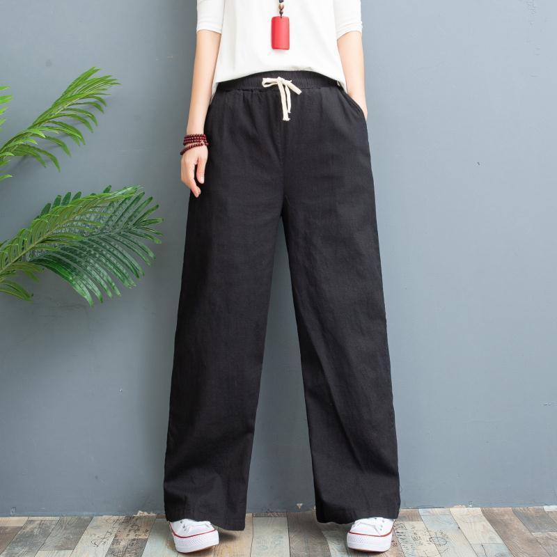 Pantalons Femmes New Washed Coton et lin Pantalon jambe large, mince style d'été, droite en vrac, de grande taille Linen femmes Pantalons-