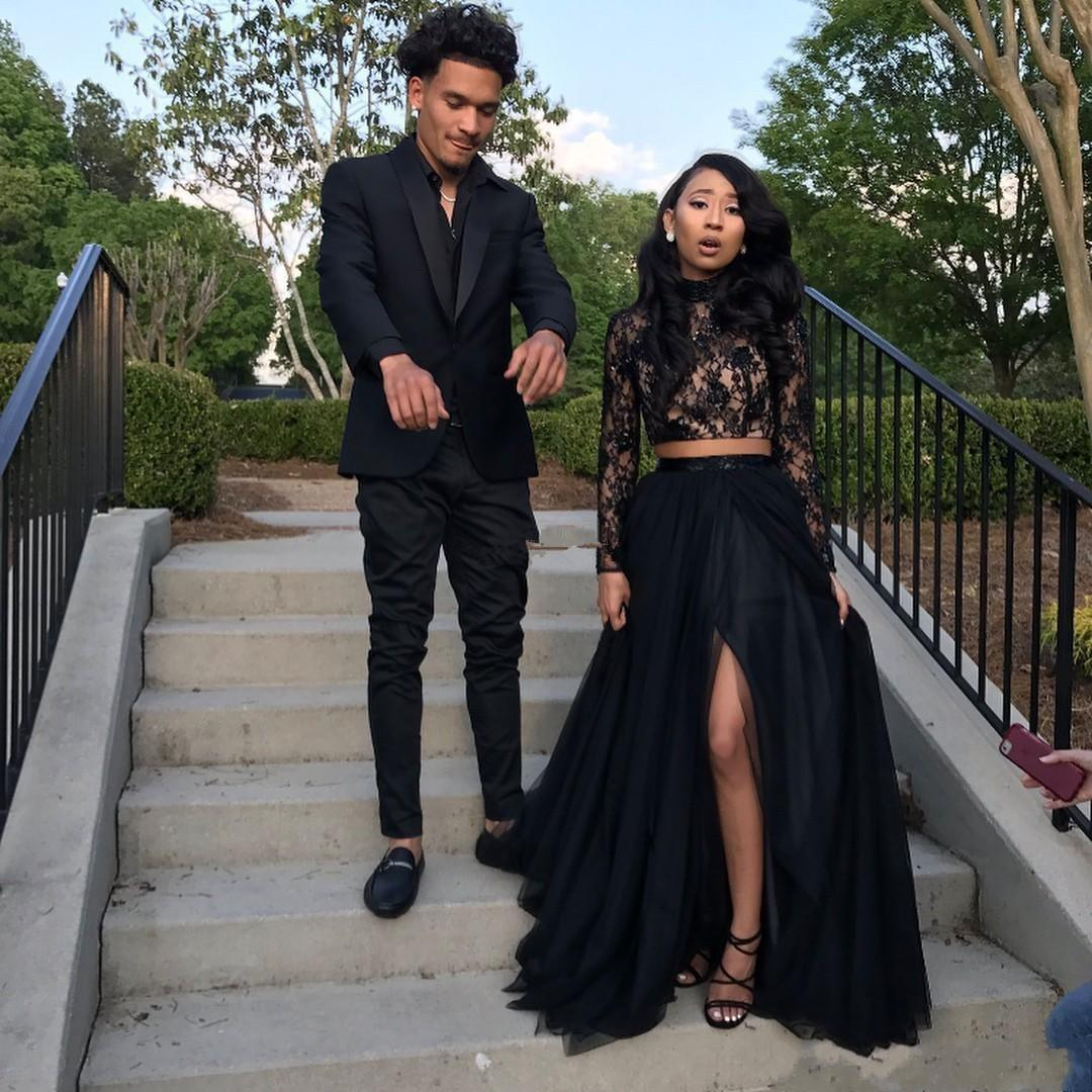 Prom Dresses 2019 Formal Evening Dress Party Pageant Gowns African Two Pieces Long Sleeve High Neck Front Split Black Girl Couple Day 2K19