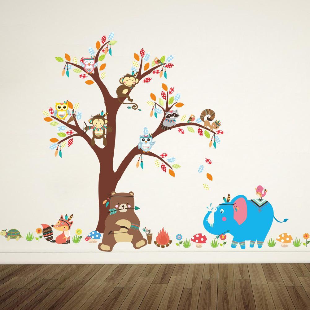 2020 غرف الدب البومة الفيل القرد ملصقات الحائط شجرة الحيوان للأطفال للأطفال الحضانة غرف اطفال ديكورات المنزل