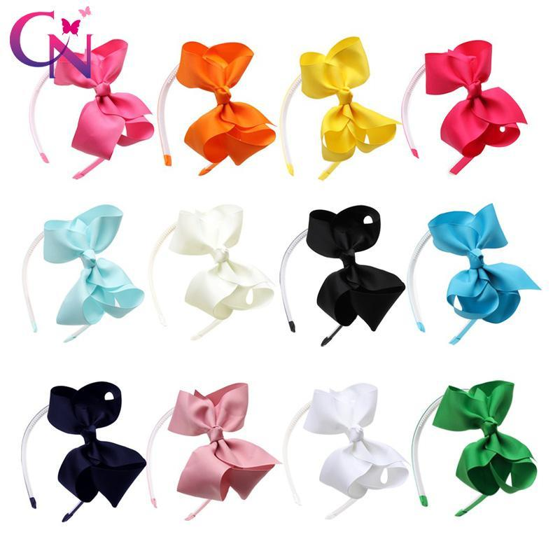 mrcjq Hoops Hairbands 12 Cn Plain Para Knot 65hair Pcs Lot artesanal cabelo Satin Headbands meninas miúdos Acessórios Ribbon Bows