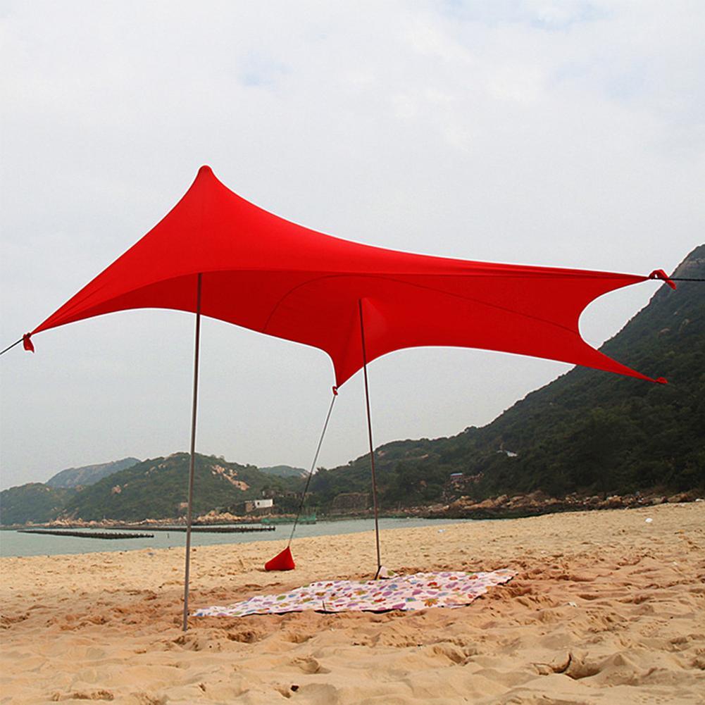 Jardín plegable portátil de hierro polacos Beach Parasol refugio con la bolsa de arena al aire libre