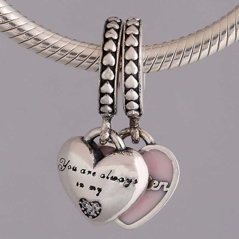 Original Mother And Daughter Hearts With Crystal Pendant Beads Fit 925 Sterling Silver Bead Charm Pandora Bracelet DIY Jewelry