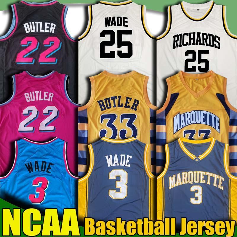 NCAA Marquette College Jimmy 22 Butler Jersey Dwyane 3 Wade Jerseys Tyler Kendrick Duncan Herro Nunn Robinson Universidad Camisa de baloncesto