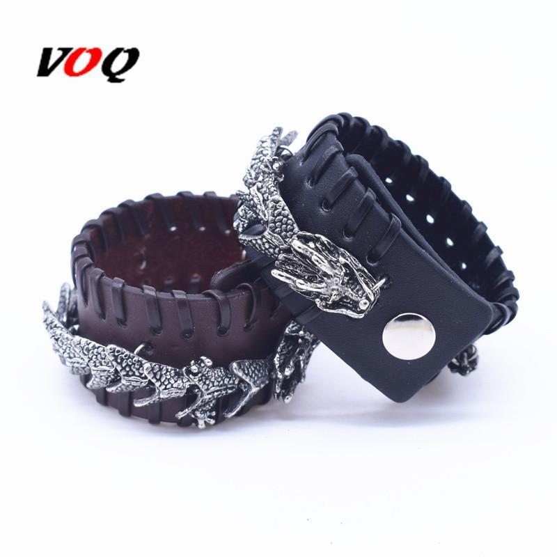 Charm Bracelets Punk Dragon Bracelet Black & Brown Braided Rope Leather For Men Hyperbole Jewelry Homme