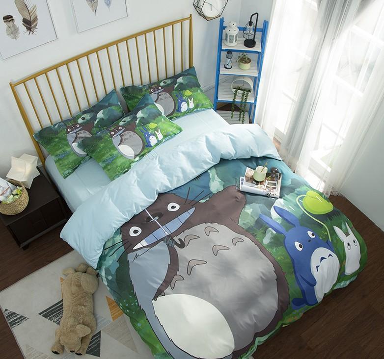 Cute Totoro Bedding Set Kids 3D Cartoon Duvet Cover Susuwatari Green Natural Scenery Printed Bedding King Queen Bedclothes D35