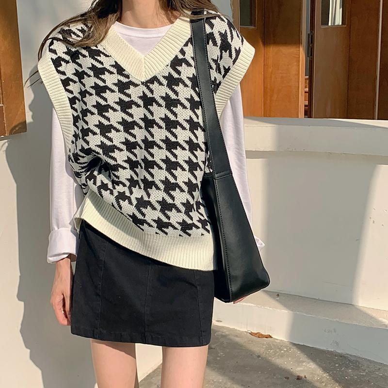 Vest 2020 ha lavorato a maglia allentato annata femminile Gilet Chic oversize Maglione Tops vestiti delle donne Outfits