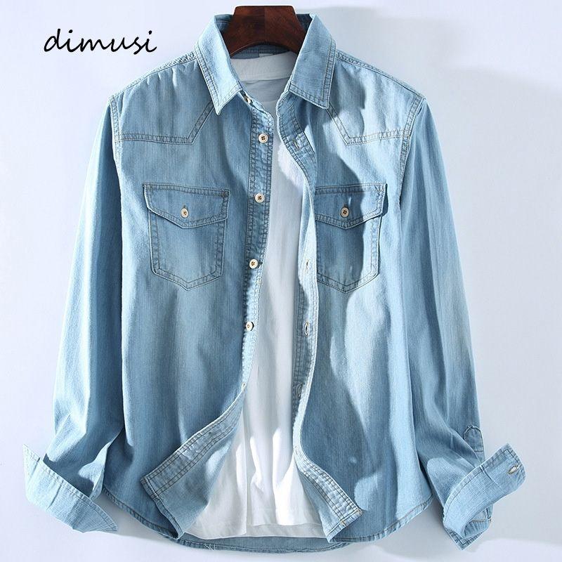 DIMUSI Mens Denim Shirt Tropical Casual Men Long Sleeve Windbreaker Shirt Male Cotton Cowboy Jean Shirts Clothing 3XL,YA934 200925