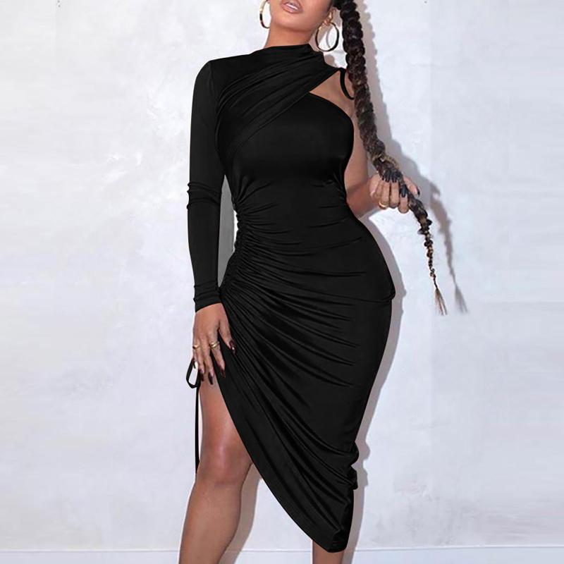 Cordón flaco atractivo de los vestidos de un hombro Mujeres sólido de manga larga de vestir para mujer 2020 del club delgado noche de fiesta Vestidos Señora LJ200911