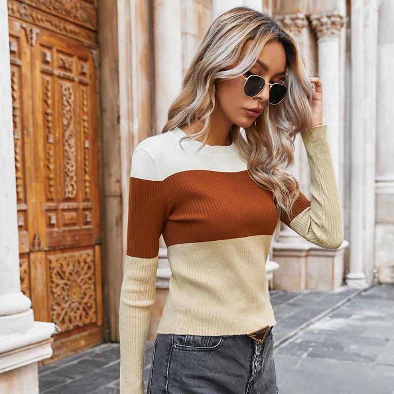 Осень Зима трикотажные свитера футболки женщин O-образным вырезом Тонкий Crop Топы женские Контрастные цвета высокой талией пассивом пуловер одежды