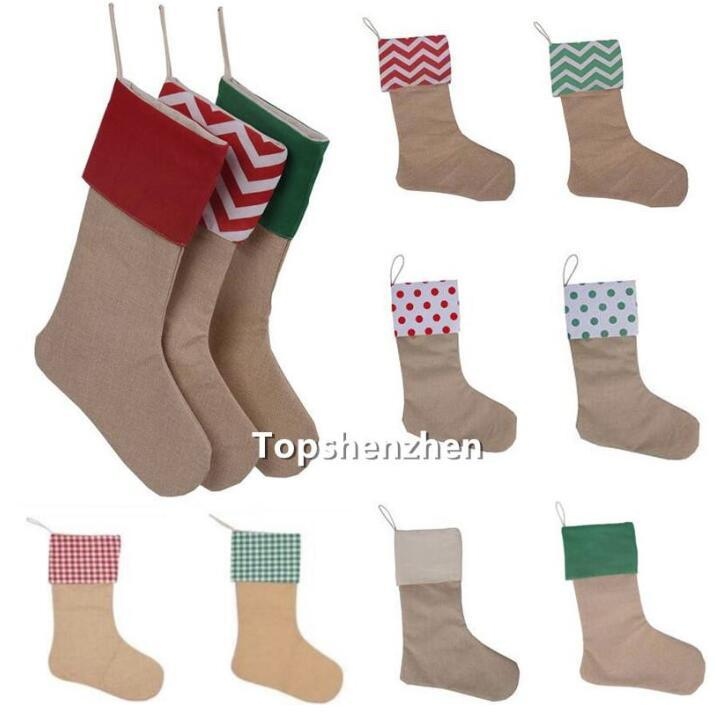 12*18inch High Quality Canvas Christmas Stocking Gift Bags Canvas Christmas Decorations Xmas stocking Large Decorative Socks fy7168