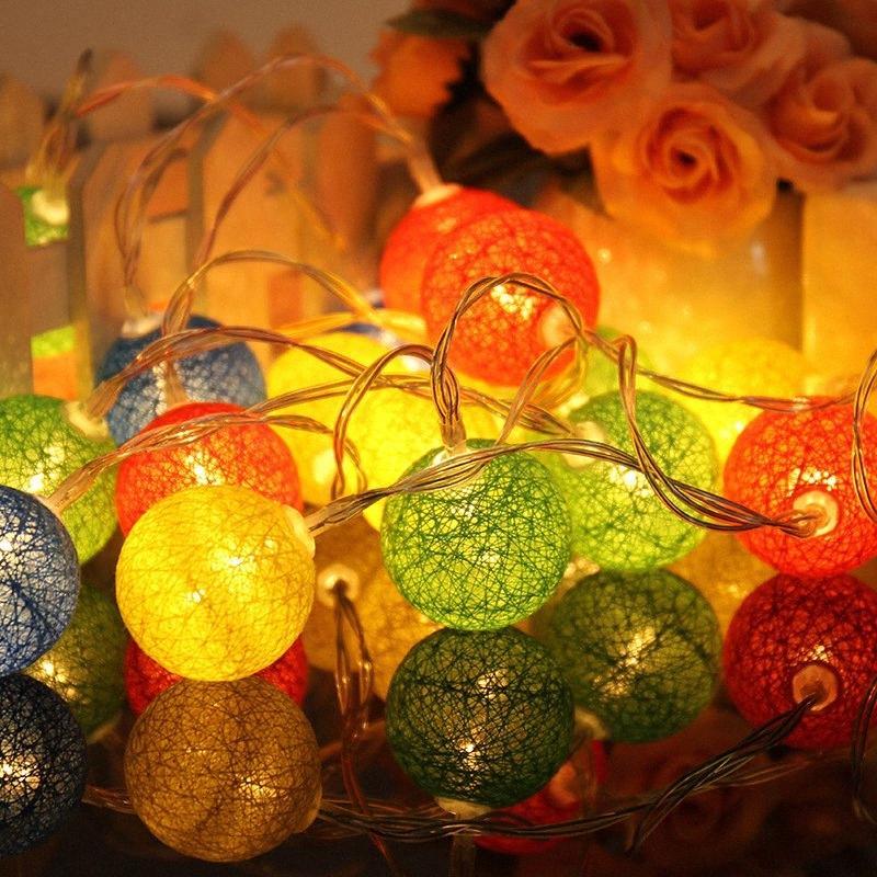 2.3m 20 LED'ler Pamuk Toplar Işıklar Noel Aşıklar Düğün Yatak Odası Süsleri Peri Lamba Noel Toptan T2 0QnP # Malzemeleri