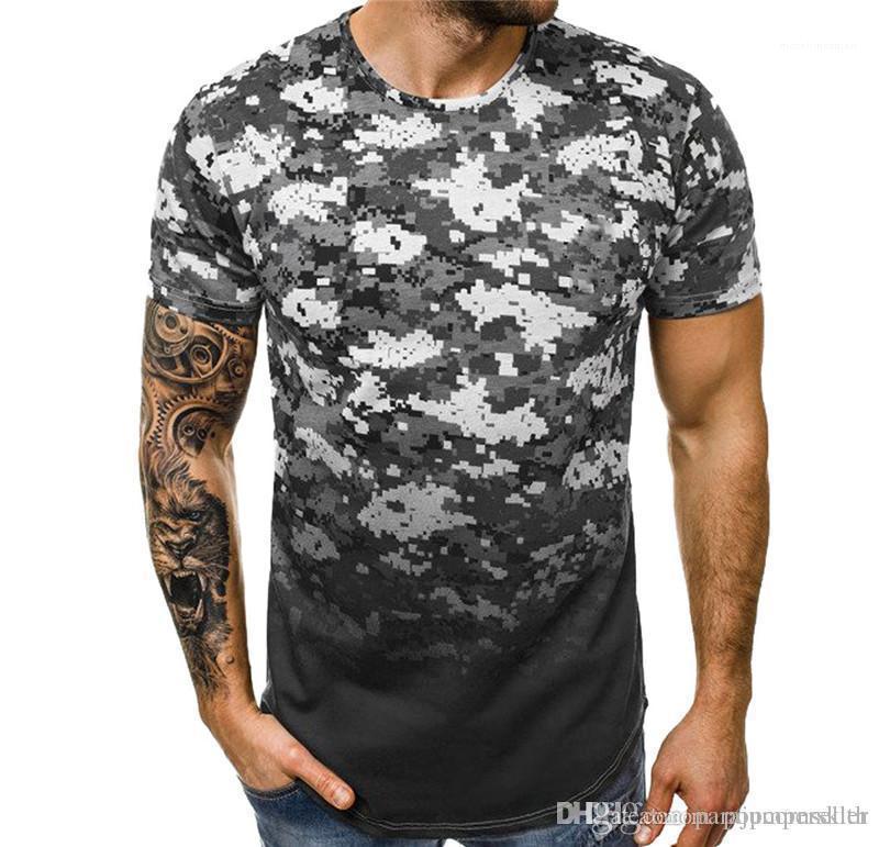T Shirt Kamuflaj Degrade Kısa Kollu Kas Tees Gençler Yaz Tops Nedensel Erkek Giyim Moda Tasarımcısı Erkek