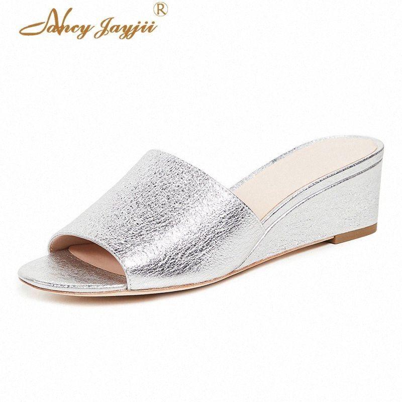 Nancyjayjii Mujeres Zapatos adultos zapatillas Negro / Plata sólido cuñas de tacón alto cubierta de verano básico ocasional de la manera del ocio clásico IpBt #