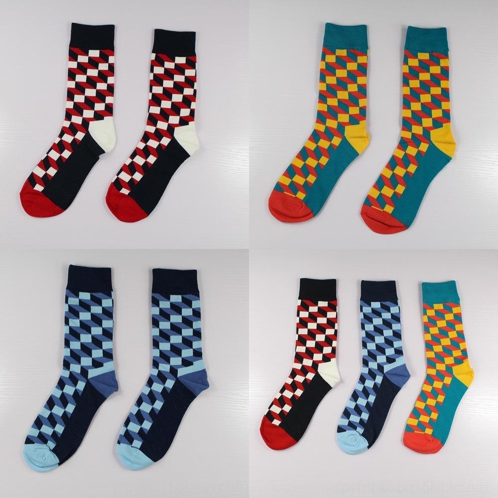 pie de algodón a cuadros rrjnU Producto cuadrados mediados de tubo y de moda calcetines de hombre feliz calcetines del nuevo algodón