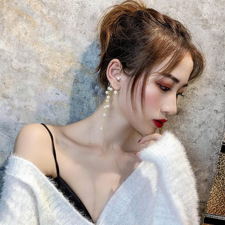 Y58sw Şık tanrıça pl püskül yeni Koreli İnternet İnci ve küpe ünlü için uzun abartılı küpe asılı olmayan kulak deliği kulak klibi