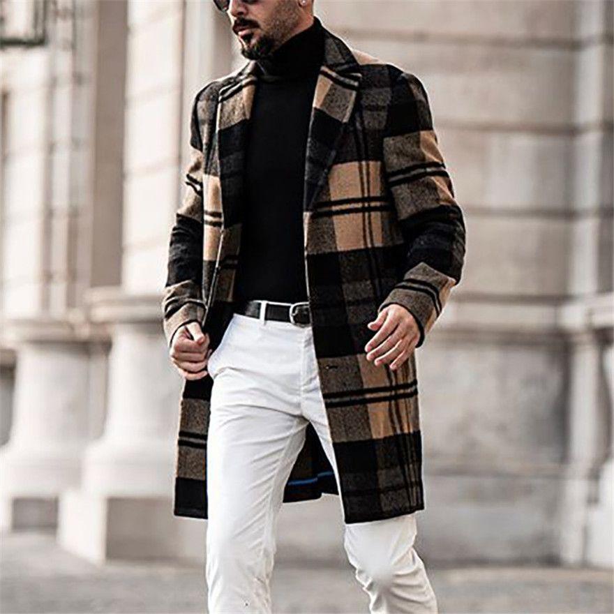 Designer homens casacos britânicos estilo lapela pescoço manga comprida solta trench casacos casual cor sólida homem outerwear