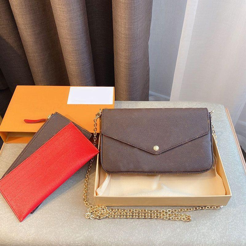 여성 체인 가방 지갑 어깨 가방 핸드백 클래식 세 조각 세트 분리 금속 체인 패키지 올드 꽃 L 편지 걸쇠 레이디 가방