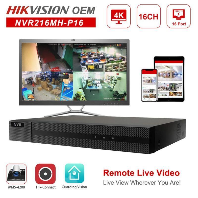 Hikvision OEM NVR Anpviz 4K 8MP 16CH H.265 + Network Video Recorder 16 POE Hik-Connect Network Management До 6TB 2 SATA ONVIF