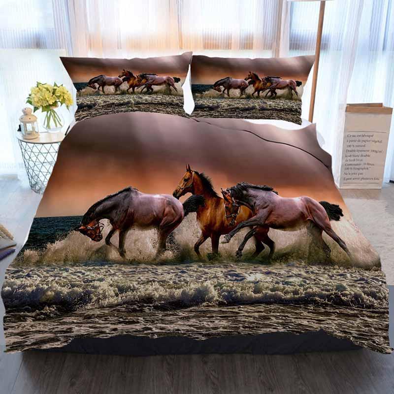 Cavalos cama 3 peça edredon cobrir Define Animais Cavalos Fauna Cavalaria Mar galopping Três Red Home luxo macio edredon Consolador Tampa