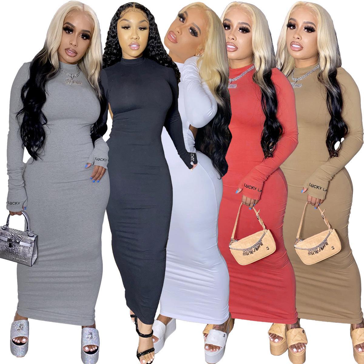 Nakış Kadınlar Uzun Kollu Backless Seksi Boycon Midi Maxi Elbise Kulübü Partisi Night Long Kalem Elbise