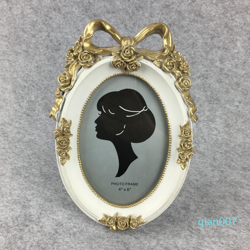 Marco creativo Mini Retro DIY Foto estilo europeo decorativo resina de la manera Azul Rosa oval blanco Forma marco de fotos
