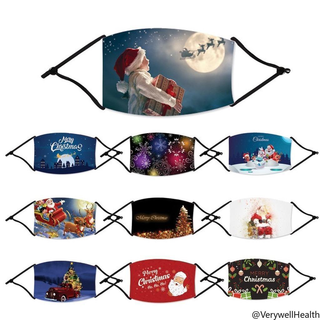 Fashion Christmas Masken Deer Printed Weihnachten Gesichtsmasken Antistaub-Schneeflocke-Weihnachtsmundschutz Waschbar Wiederverwendbare mit Masken Filter VH02