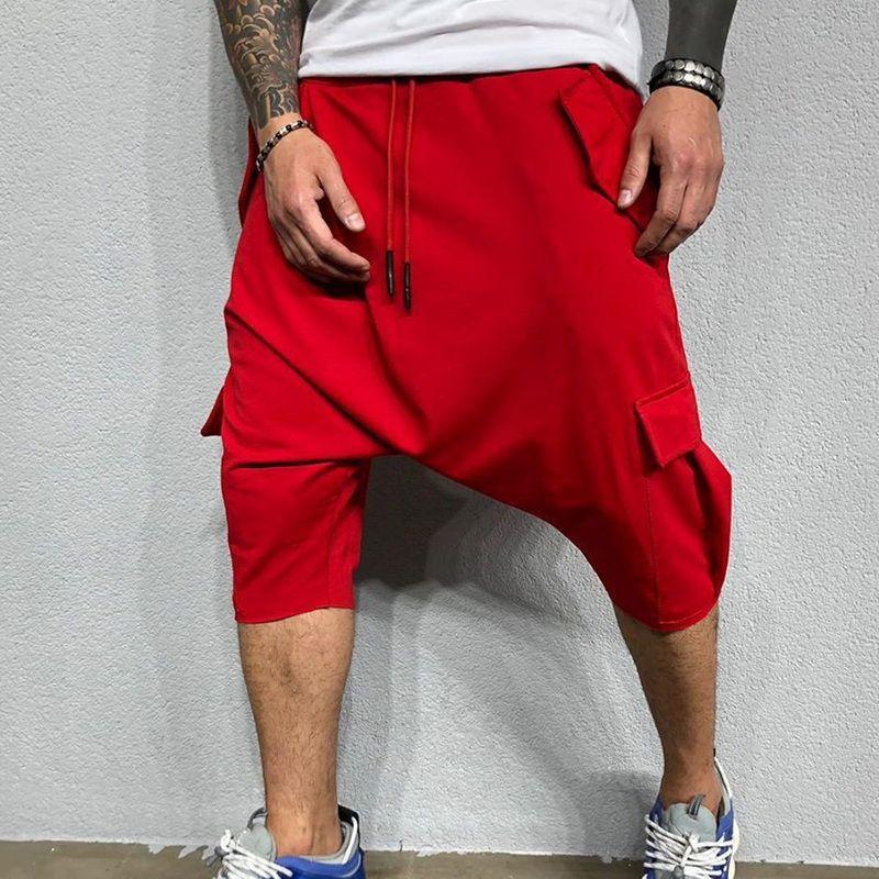 CYSINCOS Men Hip Hop Streetwear Casual Sport Cargo Overall Pants Loose Large Size Calf Length Trousers Harem Pants Jogger Hombre
