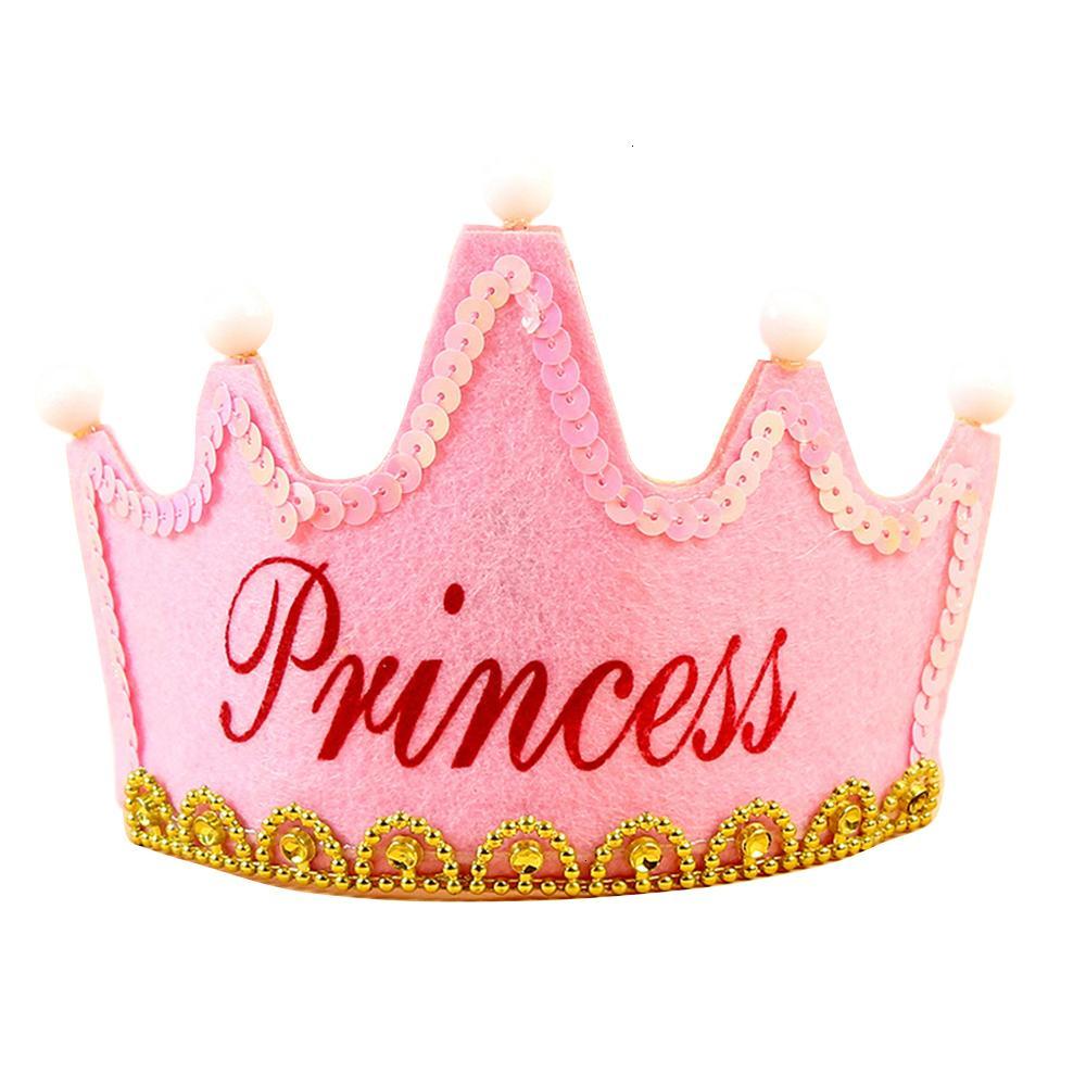 crianças / filhos chapéu LED Light up Princesa Rei feliz aniversário Crown festa de Natal Cap menina Headband