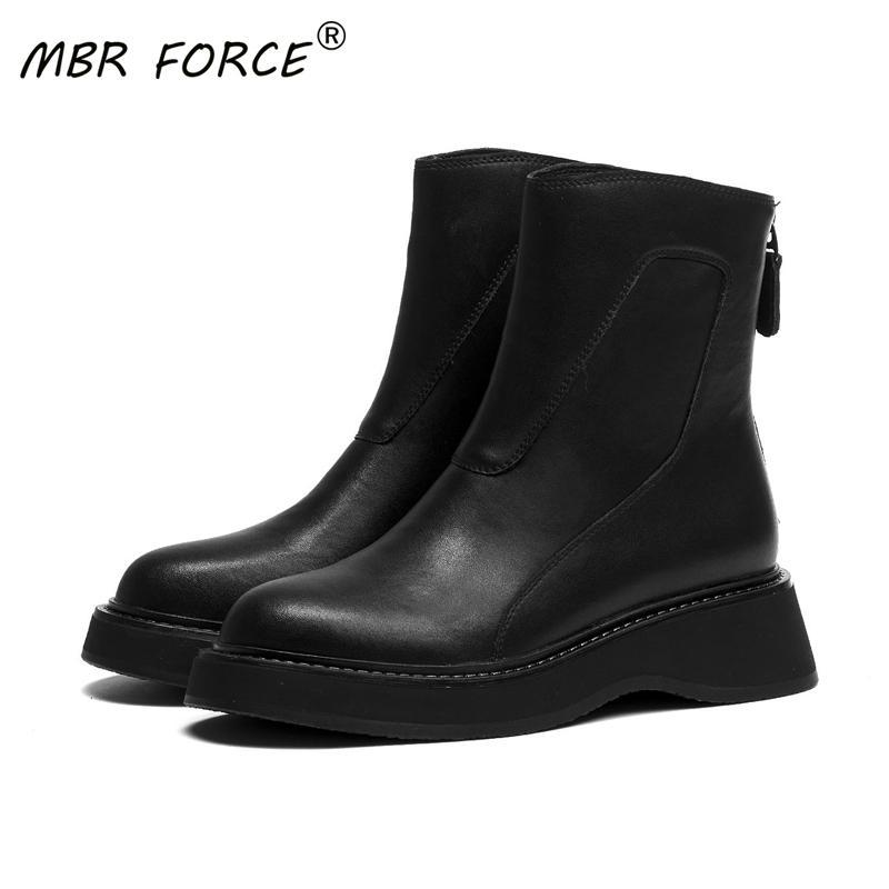 mulheres MBR força da moda de alta qualidade do couro retro ankle boots mulher Grosso botas Bottom Girls trabalho e casuais senhoras All-jogo