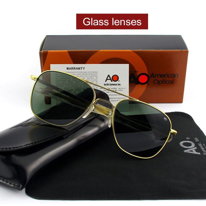 Pilot Ao Sun-Glas-Mann-Marken-Designer amerikanische Armee-Militärglasobjektiv Herren Sonnenbrillen Op55 Op57 Top-Qualität