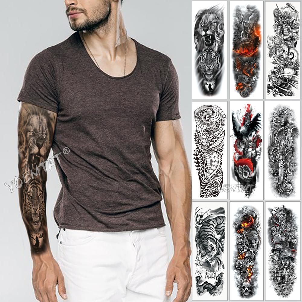 Large Arm Sleeve Tattoo Sketch Lion Tiger Waterproof Temporary Tatoo Sticker Wild Fierce Animal Men Full Bird Totem Tatto T200730