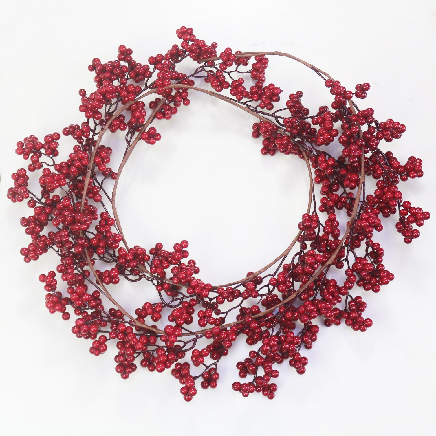 Bükülebilir ile Red Berry Garland Noel Dekorasyon Yapay Red Berry Garland Tatil Şömine Merdiven Masa Süslemeleri için Stems