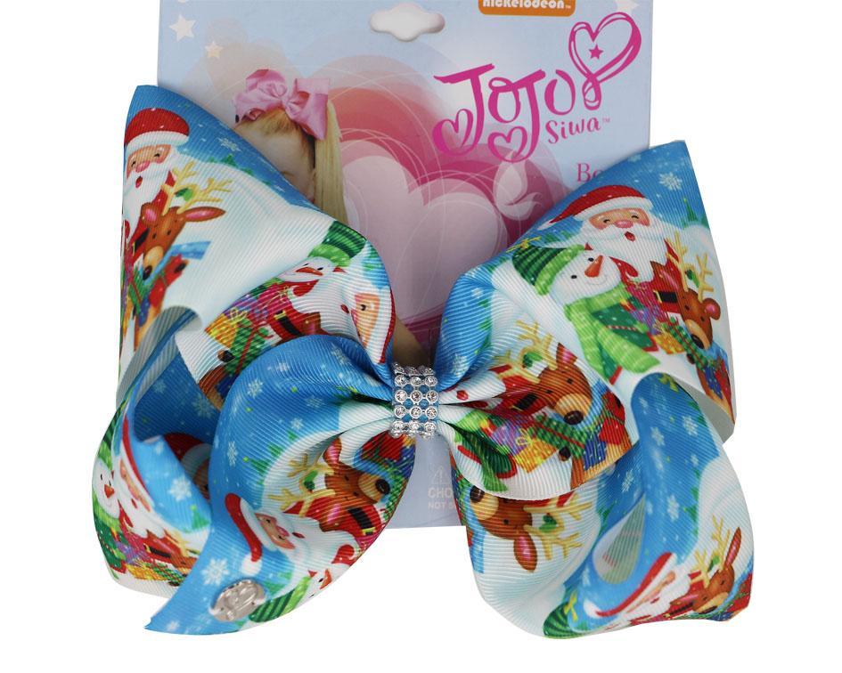 8pcs DROP SHIPPING JOJO SIWA Haar beugt Weihnachts Große 8-Zoll-Haar-Bögen mit Krokodilklemmen Weihnachtsgeschenke für Frauen-Mädchen-Kind-Haar Accessori