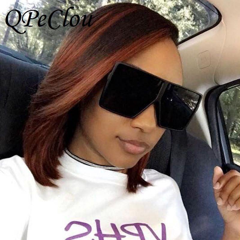 Gafas de sol Qpeclou Unisex Gafas de gran tamaño Mujeres Big Frame Hop Black Shades Hombres Espejo Colorido Cuadrado Gradiente Hip Oculos Sun LMFIU
